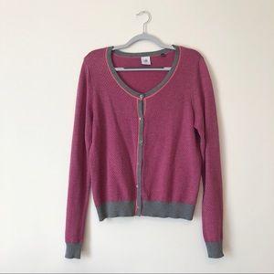 CAbi | Meg Cardigan | L | pink & grey knit | A0005